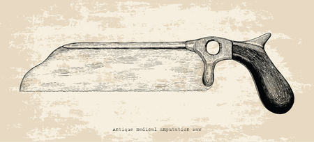 Antique medical amputation saw hand drawing vintage style Standard-Bild - 121826709