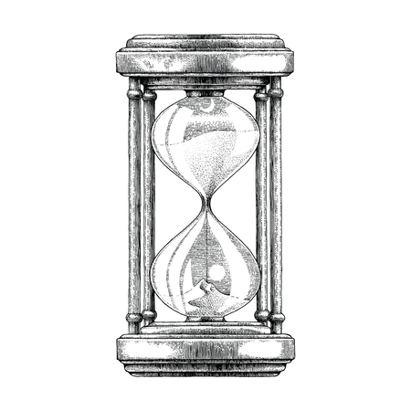 Hourglass hand drawing vintage style