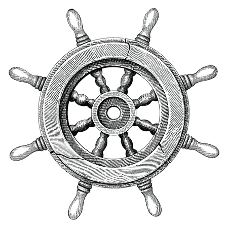 Old steering wheel ship hand drawing vintage style Stock Illustratie