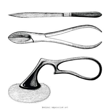 Vintage medical amputation set hand drawing engraving style