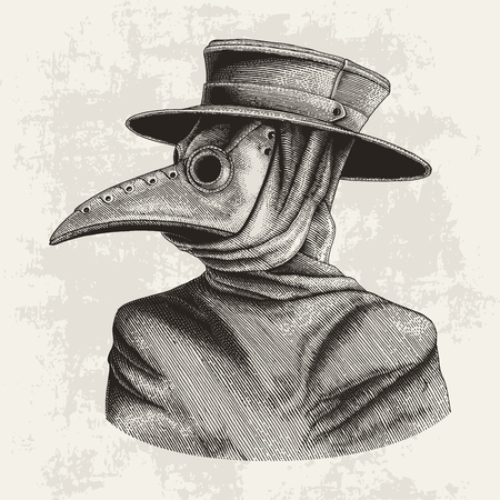 Plague doctor hand drawing vintage engraving isolate on grunge background Imagens - 102872614