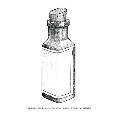 Botella de medicina vintage dibujo a mano alzada, estilo vintage Ilustración de vector