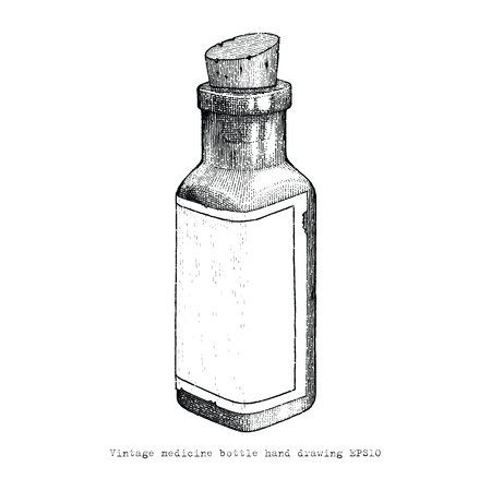 Vintage medicine bottle hand drawing vintage style