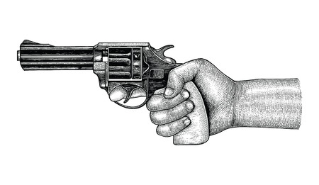 Hand holding gun,Retro drawing engraving illustration  イラスト・ベクター素材