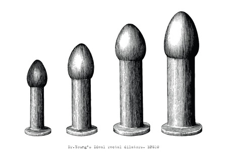 Rectal dilator equipment set four size hand drawing vintage illustration