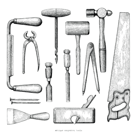 Antique carpenter tools hand drawing vintage style on white background