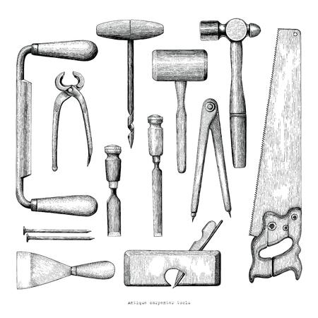 Outils de charpentier antiques dessin à la main style vintage sur fond blanc Vecteurs
