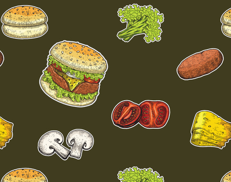 Burger hand drawing vintage style,Burger components,Burger color painting isolate