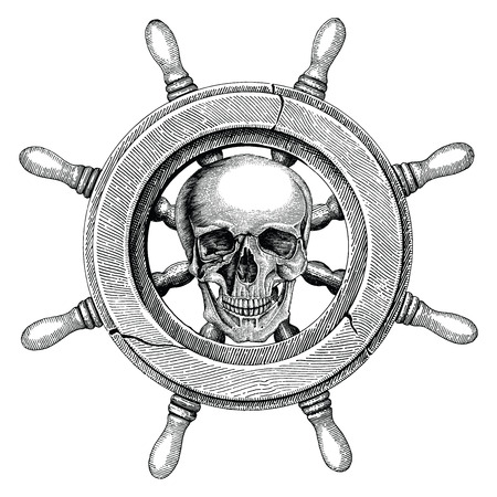Old steering wheel ship hand drawing vintage style with human skull,Pirate logo