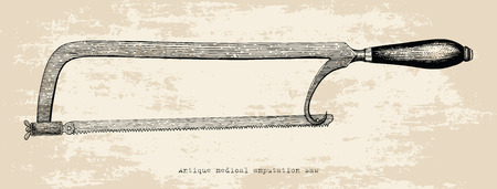Antique medical amputation saw hand drawing vintage style