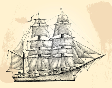 Barque hand drawing engraving style,Vintage barque isolate  イラスト・ベクター素材