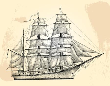 Style de gravure de dessin de main de barque, isolat de barque vintage Vecteurs
