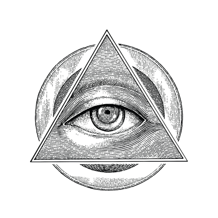 Pyramide de l'oeil avec style de gravure de dessin vintage
