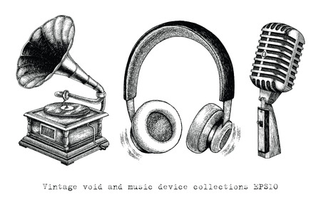 Vintage Void and Music device collections hand drawing Ilustrace