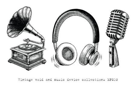 Vintage Void und Musikgerätesammlungen Handzeichnung