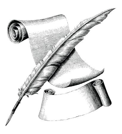 Pluma y papel en blanco con pancarta dibujo a mano ilustración de grabado vintage, estilo de logotipo de pluma y papel de canilla cruzada Logos