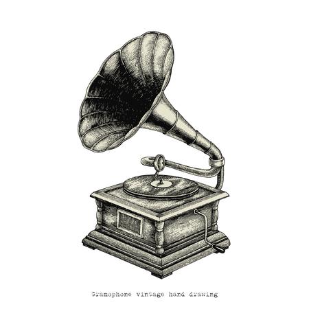 Gramophone vintage hand drawing Standard-Bild - 121826727
