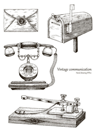 Retro communication equipment hand drawing vintage style Banque d'images - 102872796