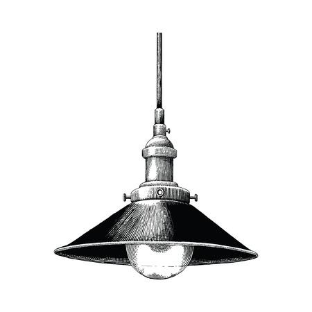 Lámpara colgante Vintage grabado de dibujo a mano alzada, aislado sobre fondo blanco. Ilustración de vector