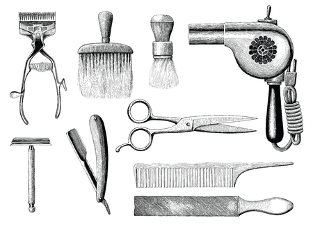 Vintage barbershop tools hand drawing engraving style  イラスト・ベクター素材