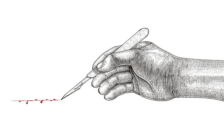 Doctor Hand holding scalpel,Surgical drawing vintage style on white background