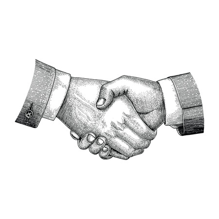 Handshake drawing vintage engraving style  イラスト・ベクター素材