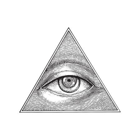 Pyramide der Augenhand, die Gravurstil zeichnet
