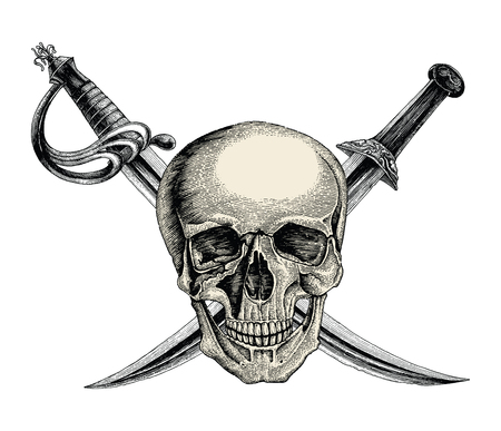 Skull with crossed swords,Pirate symbol,Logo hand drawing vintage style isolate on white background