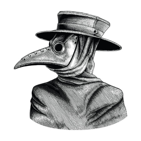 Plague doctor hand drawing vintage engraving isolate on white background Reklamní fotografie - 102872840