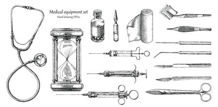 Medische apparatuur instellen hand tekenen vintage stijl