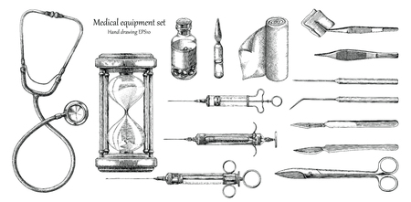 Medical equipment set hand drawing vintage style