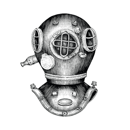 Diving helmet hand drawing vintage style