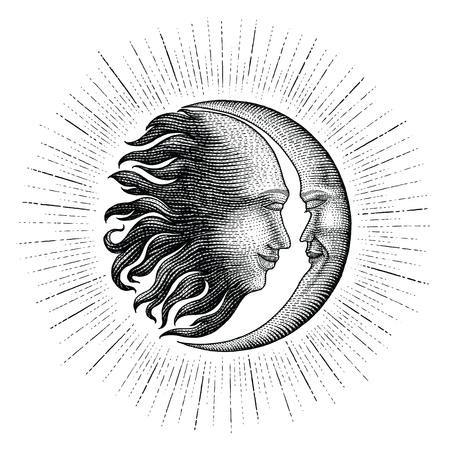Face in Sun and Moon with sparkle hand drawing vintage engraving money line detail style for tattoo  イラスト・ベクター素材