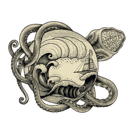 Giant octopus attacking ship and big ocean wave hand drawing vintage engraving illustration for tattoo Stock Illustratie