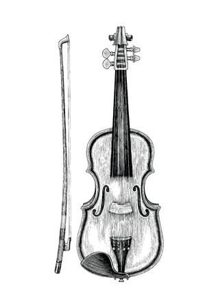 Style vintage de main de violon skecth