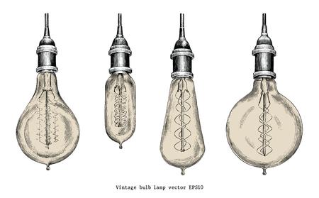 Vintage bulb lamp hand drawing engraving style Иллюстрация