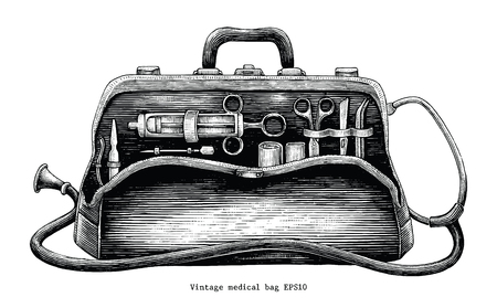 Vintage medical bag hand drawing engraving style Stock Illustratie