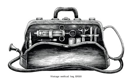 Estilo de grabado de dibujo a mano de bolso médico vintage Foto de archivo - 102872944