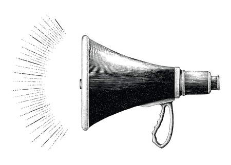 Vintage Megaphone hand drawing engraving style  イラスト・ベクター素材