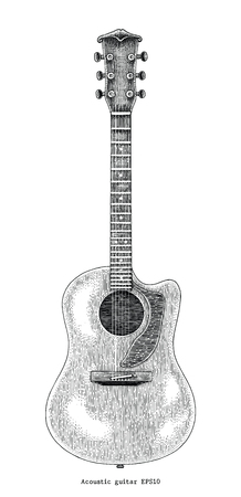 Acoustic guitar hand drawing vintage engraving illustration