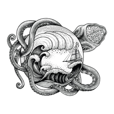 Giant octopus attacking ship and big ocean wave hand drawing vintage engraving illustration for tattoo 일러스트
