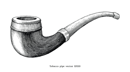 Tobacco pipe hand drawing vintage clip art isolated on white background