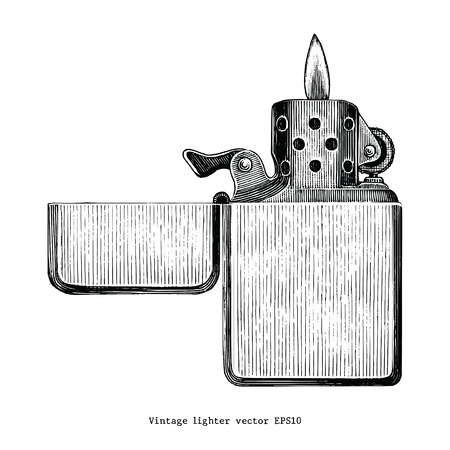 Vintage lighter hand drawing clip art isolated on white background  イラスト・ベクター素材