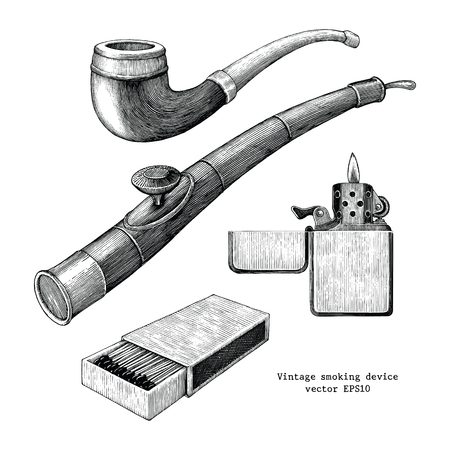 Smoker device hand drawing vintage clip art isolated on white background,Tobacco pipe,Opium pipe,Match and lighter sketch