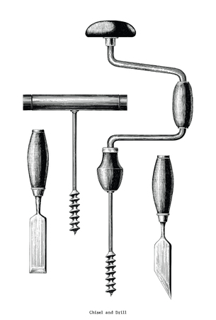 Vintage Chisel and Drill hand drawing clip art isolated on white background