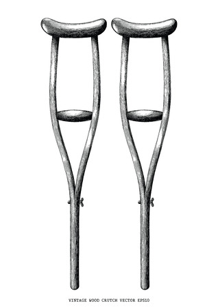 Vintage wood crutch hand draw clip art isolated on white background