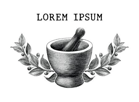 Mortaio e pestello con cornice di erbe vintage illustrazione incisione isolato su sfondo bianco,logo della farmacia e della medicina