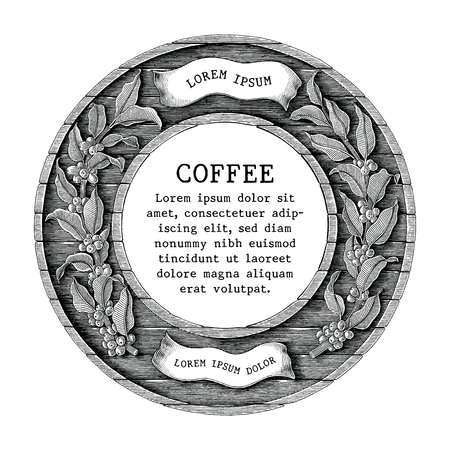 coffee shop and coffee product label hand draw vintage engraving style isolated on white background Standard-Bild - 116950523