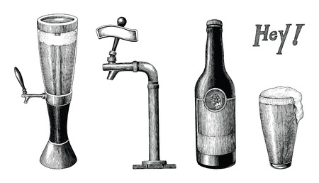 Beer collection vintage hand draw engraving style isolated on white background Ilustração