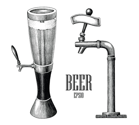 Beer tower and beer dispenser vintage hand draw engraving style isolated on white background Standard-Bild - 116950527